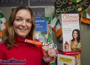 Irish International Triathlon team member, Suzanne O'Sullivan pictured at a welcome home reception at the  Slice of Life Healthfood Store in Castleisland on Thursday. ©Photograph: John Reidy