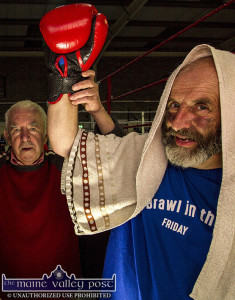The Brawl in the Dáil: Champion of Rural Ireland Affairs, Deputy Danny Healy Rae with former Munster Boxing Council Judge, David Dauber Prendiville at the Castleisland Desmonds GAA Club 2016 Brawl in the Hall open night. ©Photograph:  John Reidy
