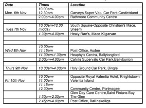The Citizens' Information Mobile Unit's countywide itinerary.