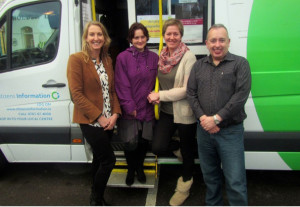 Members of the countywide Citizens' Information team: Frances Clifford, Kirstie Nowak, Tralee; Tina Curtin, Killarney and Michael Kenny, Killorglin. The mobile unit will visit Garvey's SuperValu Car Park, Castleisland on Monday morning from 10am to 12:30pm.