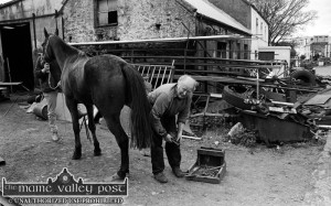 Blacksmith, Florence O'Sullivan putting a set of shoes on a horse outside his forge in Boolteens / Keel, Castlemaine. Florence will feature on Nationwide after the Six One News on RTÉ One tonight at 7pm.©Photograph: John Reidy 4-5-1996