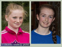 Jessie Cahill, (left) and Paris McCarthy are U-14 Munster and All-Ireland football medal winners. ©Photographs: John Reidy