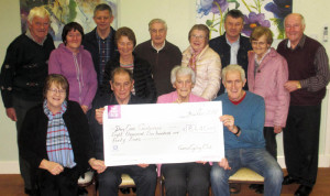 Members of Currow Cycling Club and Castleisland Day Care Centre pictured at the presentation of the proceeds of the annual cycle at the centre on Friday night.  Included are, seated: Kathleen Griffin, Eamonn Breen, Currow C.C.; Monica Prendiville, chairperson Castleisland Day Care Centre Board of Management and Freddie Dwyer, Currow C.C.. Back from left: Paddy O'Connor, Eilish Moynihan, Mike Kearney, Joan Walsh, Jimmy Shanahan, Eileen Lane,  Jimmy Kearney, Helen O'Connor and Donal Nelligan, all Castleisland Day Care Centre.  Photograph Courtesy of Castleisland Day Care Centre.