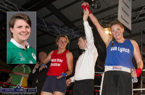 Nuala O'Connor's hand is raised by referee, Paul Griffin as Siobhán Fleming enjoys her moments in the ring at last year's Brawl in the Hall fundraiser. ©Photograph: John Reidy Inset: Ciara Griffin, Ireland and Munster. Photograph: I.R.F.U.