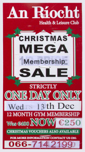 An Ríocht AC Mega Sale in on all day tomorrow, Wednesday, December 13th. Click on the poster for more information.