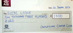 The Castleisland Camera Club Cheque which was handed over on Saturday.