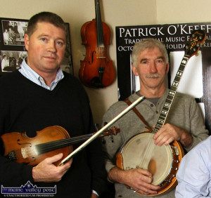 Con Moynihan and Denis O'Connor are Handed Down guests on Saturday night in Scartaglin. ©Photograph: John Reidy