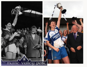 A flashback to October 1988 and Croke Park: All Star, Mary Lane raises the All-Ireland Ladies Senior Football Cup on accepting it from National Ladies' GAA President, Mary Wheatley after  she led Kerry to its seventh victory in a row. And to November 2014 and to Corofin: Lorraine Scanlon, daughter of Mary Lane raises the All-Ireland Intermediate Cup after National President, Pat Quille presented it. Lorraine also followed in her mom's footsteps on Saturday night when she gained All-Star status. ©Photographs: John Reidy 16-10-1988 and 29-11-2014.