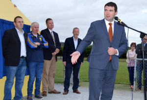 Minister Brendan Griffin speaking in Cordal at the opening of the Tom Wrenn Memorial Stand at the GAA club grounds.