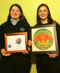Award winning designer, Patrycja Rzucidlo with KDYS Youth Justice Worker, Helena Falvey at the party to mark Patrycja's achievement. Photograph Courtesy of KDYS.
