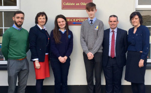 Looking East: Students, Eibhlís Brosnan and Darragh Bourke with TY cordinator, St. Patrick's Secondary, Tim Long (left) with: Katherina Broderick, principal, St. Joseph's Presentation and Denis O' Donovan, principal, St. Patrick's Secondary School and Annette Leen, TY coordinator, St. Joseph's.