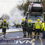 Emergency Services Monitor Car Transporter Fire At Dysart Cross