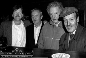 The pints were being filled: Pictured on a memorable evening after the first meeting of the just forming Patrick O'Keeffe festival committee at The Shoemakers Inn were from left: Mike Kenny, Tom Wren, Denny O'Sullivan and Jerh Sugrue. The four of them are now gone to their eternal reward. ©Photograph: John Reidy 12-10-1993