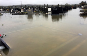 This photograph, sent by Cormac O'Mahony, shows Kilbanivane Cemetery under unprecedented levels of floodwater on Saturday morning.