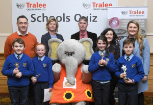 Tralee Credit Union Committee members with Kilmurry, Cordal National School representatives at the quiz prize presentation ceremony on Sunday. Front from left: Evan Greaney, Áine Walsh, Isabella Brosnan and Thomas Kelliher. Back row: Pa Laide, CEO Tralee Credit Union;  Caroline Sugrue, Chairperson Tralee Credit Union; Pat Duffy, quizmaster; Siobhan Donnelly, Marketing & Development Tralee Credit Union and  Therese Kearney, Principal of Kilmurry National School. Photograph: Domnick Walsh info@dwalshphoto.ie  www.dwalshphoto.ie