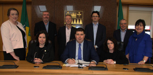 At the signing of contracts for the 2018-2022 Social Inclusion Community Activation Programme were, seated from left: Moira Murrell, Chief Executive, Kerry County Council; Cllr. Niall Kelleher, Chairperson, Local Community Development Committee and Niamh O'Sullivan, Chief Officer LCDC, Kerry County Council.  Back  from left:  Maura Walsh,Chief Executive Officer, IRD Duhallow; John Stack, Chairperson, North East and West Kerry Development; Eamon O'Reilly, Chief Executive Officer, North East and West Kerry Development; Noel Spillane, Chief Executive Officer, South Kerry Development Partnership; Michael Scannell, Director of Services, Kerry County Council and Ann Marie Fitzgerald, Community Unit, Kerry County Council.