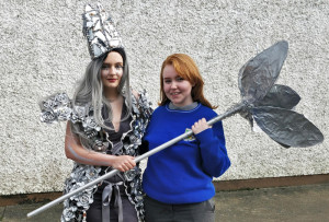 Castleisland Community College students, Lucy Setterfield (left) and Ruth Borgeat with their entry in the Junk Kouture recycled fashion competition. Photograph: Pia Thornton.