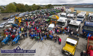 An elevated view of vastness of the Castleisland Co-Op Mart yard at the start of the Eamon Carey Memorial Tractor/Truck Run. Next month's St.Patrick's Day Parade will start from there with a 12:30pm gathering time.  ©Photograph: John Reidy 8-10-2017