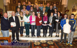 Defibrillator demonstrator, Eamon O'Connor pictured with Mons. Dan O'Riordan PP and demonstration assistants, Greg Curran and DJ Fealey with a group of parishioners with their certificates in April 2015. Certificate recipients include, front from left: Mary O'Connell, Mary Howarth, Nora Fealey, Margaret Connell, Mary O'Sullivan, Mary O'Donoghue and Teresa Curtin. Second row from left: Maura Hartnett, Noreen O'Sullivan, Joan Walsh, Michael Broderick, Sheila O'Connell, Tom Curtin and Anne Marie Murphy. Back row from left: Tommy Martin, Dan O'Donoghue, Dan O'Connell, Kathleen O'Mahony, Jimmy Kearney, John Murphy and Jack Shanahan. Photograph: John Reidy 28-4-2015