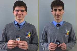 St. Patrick's Boys' Secondary School students, gold medalist, John O'Connor (left) and silver medalist, Shane Óg McGaley, who competed in the junior boys shot put with a throw of 9.96 metres  at the Munster Schools Indoor Athletics Championships in Nenagh.