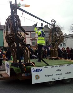 The Sgt Maurice McCabe float with the authentic Garda issue cap and vest - the use of which is now under investigation. Photograph: Cathleen Reidy / The Maine Valley Post