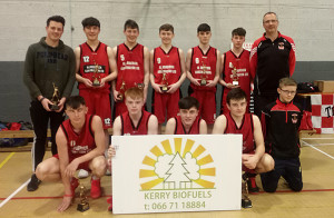 St. Mary's U-19 boys winners of the Tralee Tigers invitational tournament last weekend. Front from left:  Daniel Kelly, Gary O'Sullivan,  Kevin Keane, Joseph Sheehy and Nathan Egan.  Back from left:  Jack Curran, David Riordan, Adam Donoghue, Adam O'Donoghue,  Charlie Conway, Greg Curran and Coach Maurice Casey.