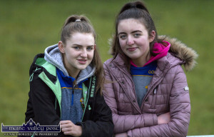 Cordal supporters, Lisa Flynn (left) and Orla O'Donoghue taking a keen interest at a recent game at the home pitch. ©Photograph: John Reidy
