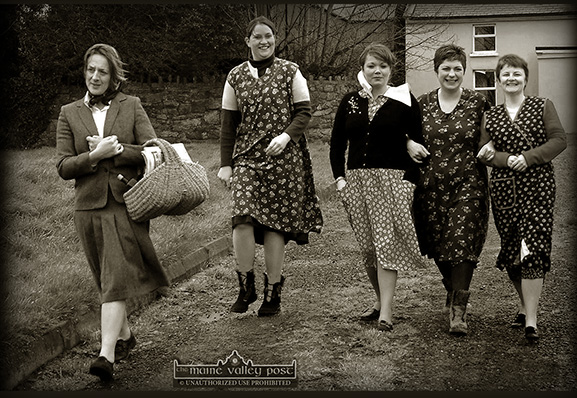 Sliabh Luachra Drama group members preparing for  in their roles as the Mundy sisters in their 2005 production of Dancing at Lughnasa  at The Heritage Centre in Scartaglin. From left: Nora Walsh,  Mary Horgan, Moira O'Connor, Geraldine Pigott and Fiona Brennan. ©Photograph: John Reidy  30/01/2005