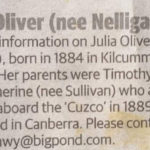Nelligan Connections Being Sought in Sydney, Canberra and Kilcummin