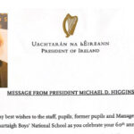 60th. Celebrations at Boys National Topped by Letter from President Higgins